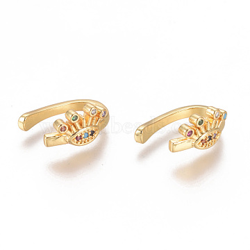 Golden Plated Brass Micro Pave Cubic Zirconia Cuff Earrings, Long-Lasting Plated, Eye, Colorful, 13x10.5x2mm(EJEW-L244-31G)