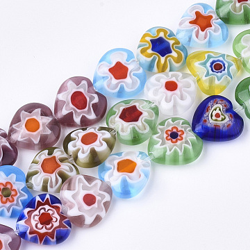 Handmade Millefiori Lampwork Beads Strands, Heart, Colorful, 10x10x4mm, Hole: 1mm; about 37pcs/strand, 13.38 inches(LAMP-S191-09)