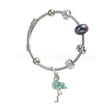 European Bracelets, with Glass Beads, Enamel, Rhinestone, Lawn Green, Silver Color Plated(BJEW-BB34160)