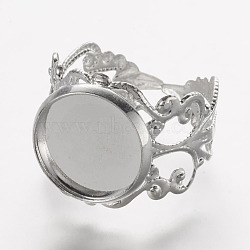 Cuff Brass Filigree Ring Setting, DIY Ring Making, Flower, Silver Color Plated, 17.5mm(X-KKC-G002-34S)