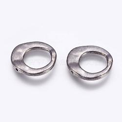Style tibétain cadres anneau irrégulière de perles, sans plomb et sans cadmium et sans nickel, gunmetal, 20.5x20.5x3mm, Trou: 12mm(X-K081Z052)