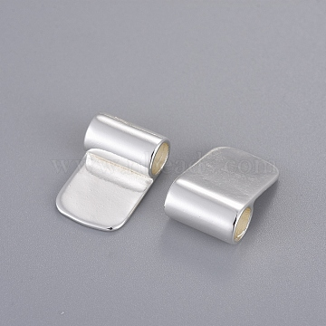 Brass Glue-on Flat Pad Bails, Silver Color Plated, 16.5x11mm, Hole: 4.5mm(X-KK-D519-B-S)