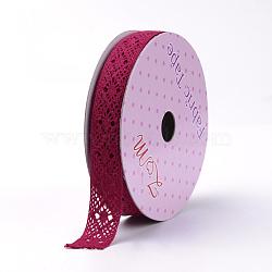 Cotton Ribbons, Filigree, DarkRed, 5/8inch(15mm); about 2yards/roll(1.82m/roll)(SRIB-S049-12C)