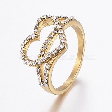 Vacuum Plating 304 Stainless Steel Rhinestone Finger Rings, Heart, Golden, Size 6~9, 16~19mm(RJEW-H125-49G)