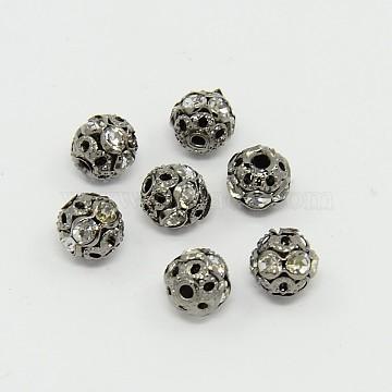 Brass Rhinestone Beads, Grade A, Gunmetal, Round, Crystal, 6mm, Hole: 1mm(RB-A011-6mm-01B)