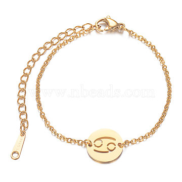 201 Stainless Steel Link Bracelets, with Cable Chains and Lobster Claw Clasps, Flat Round with Constellation, Cancer, 6 inches~6-3/4 inches(15~17.5cm); 1.5mm(STAS-T040-JN010-4)