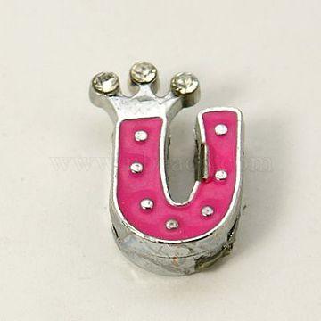Alloy Enamel Rhinestone Slide Charms, Letter, Platinum Metal Color, Letter.U, Fuchsia, 16x9x4mm, Hole: 1x8mm(X-ENAM-A126P-U03)