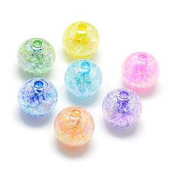 Perles acryliques craquelées, couleur ab, couleur à l'intérieur , rond, couleur mixte, 20mm, trou: 2.5 mm; environ 110 pcs / 500 g(MACR-S825-20mm)