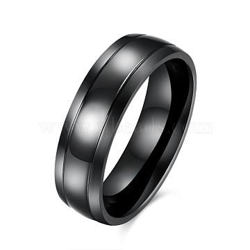 Simple Design Men's 316 Titanium Steel Wide Band Rings, Chunky Rings, Gunmetal, US Size 8(18.1mm)(RJEW-BB15751-8)