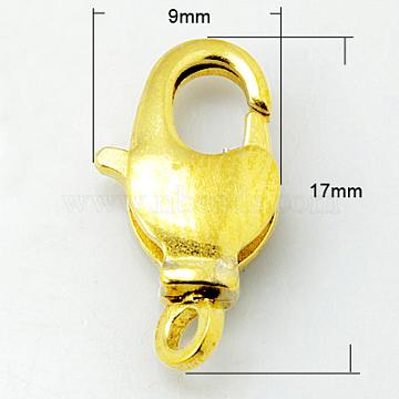 Brass Swivel Lobster Claw Clasps, Swivel Snap Hook, Nickel Free, Golden, 17x9x3.5mm, Hole: 2mm(X-KK-E100-17x9mm-G-NF)