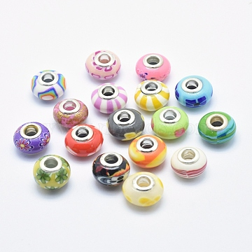 Handmade Polymer Clay European Beads, Large Hole Beads, Rondelle, Mixed Color, 13~16x8~11mm, Hole: 4.5~5mm(X-CLAY-K002-L27)
