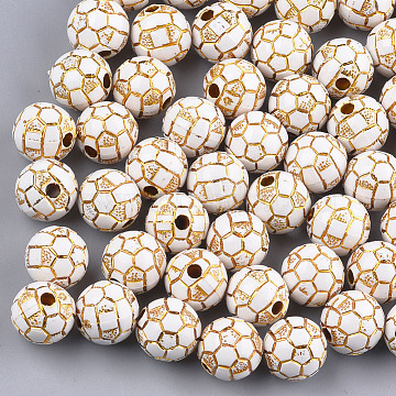 Plating Acrylic Beads, Metal Enlaced, FootBall/Soccer Ball, White, 11mm, Hole: 2mm; about 550pcs/500g(PACR-T006-24B)