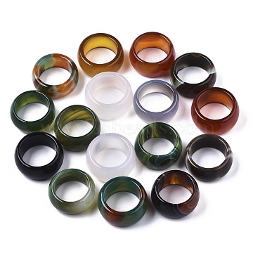 Natural Agate Rings, Wide Band Rings, Dyed, Mixed Color, Size 10, Inner Diameter: 19~20mm(G-N0326-035)