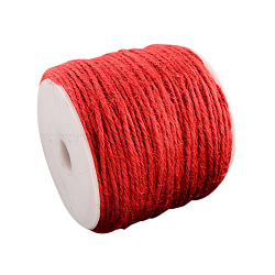 Cordon de chanvre coloré, 3 pli, pour la fabrication de bijoux, rouge, 2 mm; 100 m / rouleau(OCOR-R008-2mm-009)