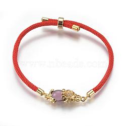 """Bracelets réglables en nylon, Bracelets coulissants, bracelets bolo, avec maillons en laiton et zircone, Pi Xiu, oldrose, 8-5/8"""" (22cm); 3mm(BJEW-L639-02A)"""