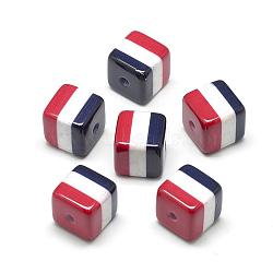 Perles acryliques imprimés opaques, nacré, cube avec la République arabe du drapeau de l'Égypte, colorées, 16x16x16mm, Trou: 3mm(MACR-S274-73A)