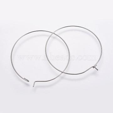 316 Surgical Stainless Steel Hoop Earrings Findings, Wine Glass Charms Findings, Stainless Steel Color, 21 Gauge, 40x0.7mm, Inner Diameter: 39mm(X-STAS-K146-039-40mm)