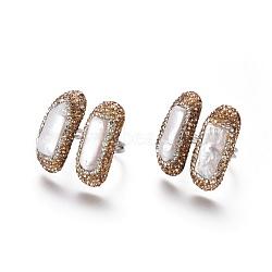 Bagues de manchette réglables en argile polymère avec strass, avec les accessoires de perles et en laiton, rectangle, lt.col.topaz, taille 8~9, 18~19mm(RJEW-K229-D01)