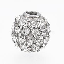 304 perles de strass en acier inoxydable, arrondir, couleur inox, 10 mm, trou: 3 mm(STAS-A033-031P)