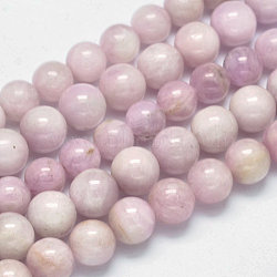 Round Natural Kunzite Beads Strands, Spodumene Beads, Grade AB+, 10mm, Hole: 1mm; about 38pcs/strand, 15.5inches(G-K068-27-10mm)
