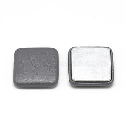 Cabochons recouverts de tissu imitation cuir, avec fond en aluminium, carrée, grises , 32.5x32.5x7mm(X-WOVE-S084-02A)