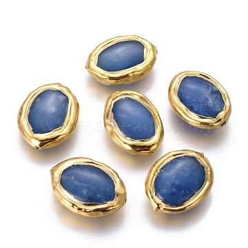 Natural Agate Beads, with Golden Plated Brass Findings, Oval, 20~22x15~17x5~7mm, Hole: 0.8mm(X-G-F633-22A)