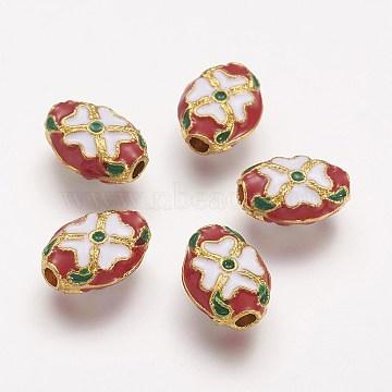 Alloy Enamel Beads, Oval, Golden, Red, 14x10x5mm, Hole: 2mm(ENAM-F061-01G)