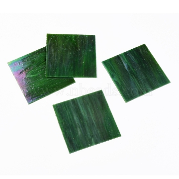 Variety Stained Glass Sheets, Large Cathedral Glass Mosaic Tiles, for Crafts, Dark Green, 105~110x105~110x2.5mm(GLAA-G072-01E)