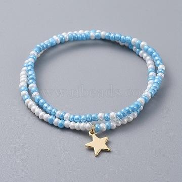Glass Seed Beaded Kids Stretch Bracelets, Stackable Bracelets, with Star Brass Charms, Sky Blue, 2 inches(5cm), 2pcs/set(BJEW-JB04825-05)