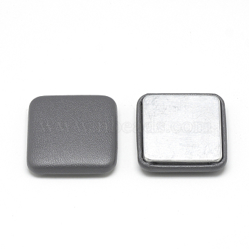 Imitation Leather Cloth Fabric Covered Cabochons, with Aluminum Bottom, Square, Gray, 32.5x32.5x7mm(X-WOVE-S084-02A)