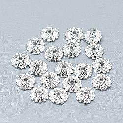 925 шарик из стерлингового серебра, 6-лепесток, цветок, серебряные, 5.5x1.5 мм, отверстие : 1 мм(STER-T002-89S)