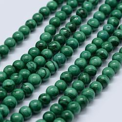 """Chapelets de perles en malachite naturelle, grade AB, rond, 8mm, trou: 0.7mm; environ 53 pcs/chapelet, 15.5"""" (39.5 cm)(G-F571-27AB1-8mm)"""