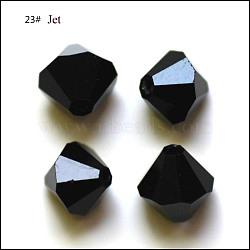 Perles d'imitation cristal autrichien, grade AAA, facette, Toupie, noir, 4x4mm, Trou: 0.7~0.9mm(SWAR-F022-4x4mm-280)