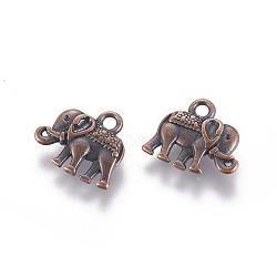 charmes de cru d'éléphant, charmes de style tibétain, sans plomb et sans nickel, cuivre rouge, 12x14x2.5 mm, trou: 1 mm(X-PALLOY-ZN-47017-R-FF)