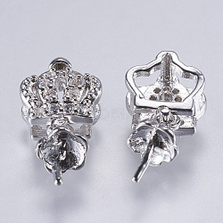 Laiton micro pavé zircone cubique peg bails pendentifs, pour la moitié de perles percées, Plaqué longue durée, Sans cadmium & sans nickel & sans plomb, couronne, Platine plaqué réel, 16x8x5mm, trou: 2x4 mm; broches: 1 mm(ZIRC-E142-12P-NR)