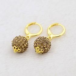 Pendantes rondes résine de balle boucles d'oreilles strass, avec boucles d'oreilles créoles en laiton doré, lt.col.topaz, 30mm, pin: 1 mm(EJEW-J080-14G)