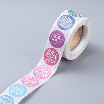 Thank You Self-Adhesive Paper Gift Tag Stickers, for Party, Decorative Presents, Flat Round, Word, 25mm; 500pcs/roll(X-DIY-E027-A-01)