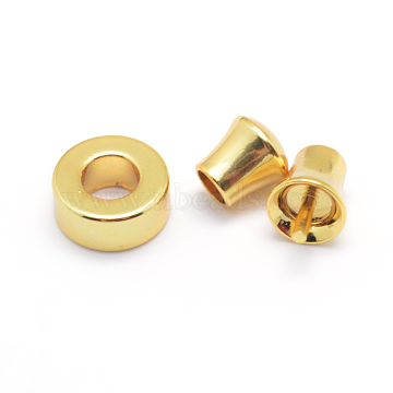 304 Stainless Steel Cord Ends, For Leather Cord Bracelets Making, Donut and End Caps and Cap with Pin, Golden, 8x3mm, Hole: 4mm, 5.5x5mm, Hole: 3mm, 8x5mm, Hole: 3mm, pin: 1mm(STAS-F126-02G)