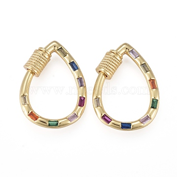 Brass Micro Pave Cubic Zirconia Screw Carabiner Lock Charms, for Necklaces Making, Long-Lasting Plated, Teardrop, Colorful, Real 18K Gold Plated, 23.5x17x2.5mm, Screw: 6x5x4.5mm(KK-K242-21G)