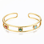 Brass Micro Pave Clear Cubic Zirconia Cuff Bangles, with Enamel, Nickel Free, Evil Eye, Colorful, Real 16K Gold Plated, Inner Diameter: 2-1/4x1-7/8 inches(5.85x4.8cm), 10.5mm