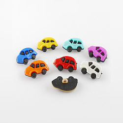 Boutons en acrylique, 1-trou, teint, voiture, couleur mixte, 16x25x8mm, Trou: 3mm(X-BUTT-Q010-M)