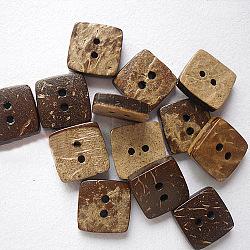 Sqaure boutons avec 2 trous, bouton de noix de coco, burlywood, taille: environ 10mm de diamètre(NNA0Z1V)