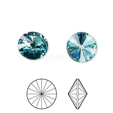 Austrian Crystal Rhinestone Cabochons, Crystal Passions, Foil Back, Faceted Rivoli, 1122, 263_Light Turquoise, 8.164~8.421mm(1122-SS39-F263)