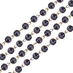 la main de perles de perles de verre chaînes, avec perles de verre et épingle à œil en fer, non soudée, bronze antique, noir, 1000x8 mm, environ 76 pcs / brin(AJEW-PH00489-05)