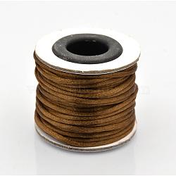 Cordons fil de nylon tressé rond de fabrication de noeuds chinois de macrame rattail, café, 2 mm; environ 10 m/rouleau(X-NWIR-O002-11)