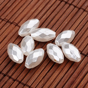 Faceted Rice Imitation Pearl Acrylic Beads, White, 13x7mm, Hole: 1.5mm(X-OACR-L004-3052)