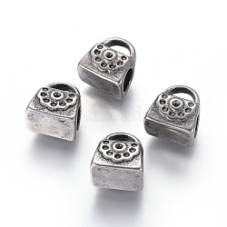 304 paramètres strass perle européenne en acier inoxydable, Perles avec un grand trou   , sac, argent antique, 11x10x7.5mm, trou: 4.5 mm; apte à 1 mm strass(STAS-I120-86AS)