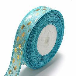 """Ruban satin polyester imprimé face unique, motif de goutte d'or, bleu foncé, 7/8"""" (23mm); Environ 50 heures / rouleau(SRIB-Q013-23mm-05)"""