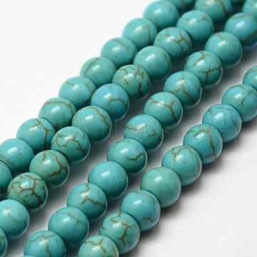 Synthetic Howlite Bead Strand, Dyed, Round, Dark Cyan, 6x5.5mm, Hole: 1mm; about 72pcs/strand, 15.3''(X-G-P228-04-6mm)