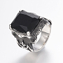 316 Stainless Steel Finger Rings, with Cubic Zirconia, Rectangle, Black, 18mm